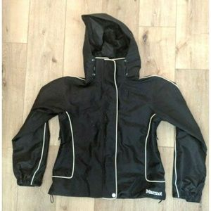 Marmot Black Nylon Ski Snowboard Jacket w/ Hood